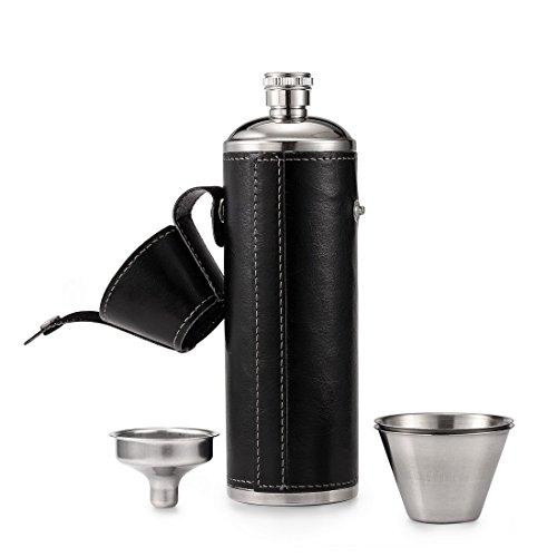 GENNISSY personalisierte Flachmann Alkohol Fläschchen, aus Leder Edelstahl Trichter tragbar Groomsman Herren Geschenk Flask