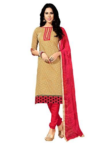 Applecreation Women's Chanderi Cotton Salwar Kameez (Beige, 2BND1008)