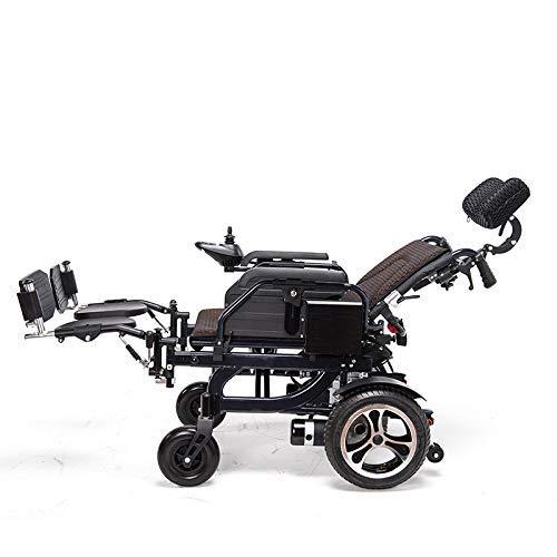 LoveVV Falten intelligente automatische Aluminium-Leichtmetall-Rollstuhl mit intelligentem universellen universellen elektrischen Rollstuhl Personal Walker Allrad-Elektrofahrzeug Senioren (schwarz)