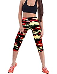 Impreso Stretch Leggings yoga Sannysis Pantalones pirata para mujer deporte (01, S)