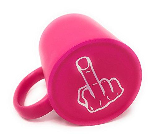 Laser Tattoo - Sag es ohne Worte - Die Kaffeetasse mit Dem Mittelfinger auf der Unterseite (Pink/Weiss)