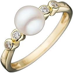 Anillo mujer Gold Ring con perla blanca & circonios 333 oro amarillo perlas anillo