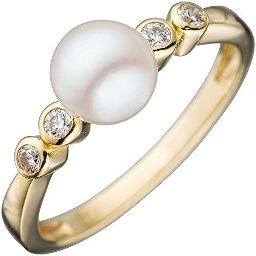 Ring Damenring Goldring mit weißer Perle & Zirkonia 333 Gold Gelbgold Perlenring, Ringgröße:Innenumfang 58mm ~ Ø18.5mm