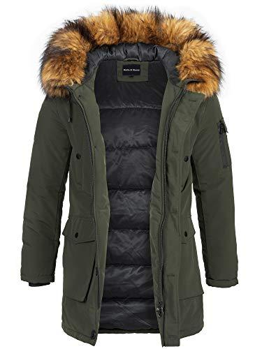 Rello & Reese Winter Parka mit Fell-Imitat Jacke Mantel E-7250 (Model 2 - Khaki, XL)
