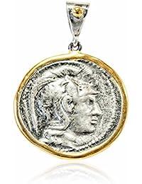 Joyasantiguas - Colgante de Plata Moneda Dorado/oxido Atenea casco corintio