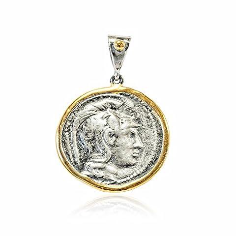 Joyasantiguas - Anhänger Vintage Silber Greek Münzen Vergoldet/Oxid Göttin Athene