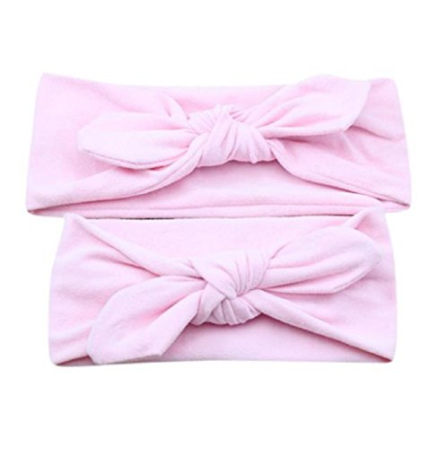 Diademas para bebé y madre, Sannysis 2PCS Joyas para el pelo Conejo arco Hairband (Rosa)
