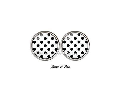 Boucles d'oreilles puces pois noirs cabochon blanc acier inoxydable