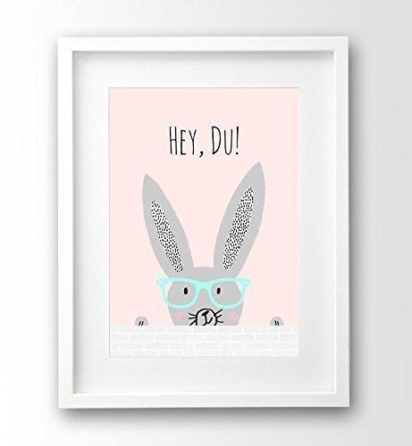 Kinderzimmer Bild ungerahmt A4, Hipster Bunny, rosa