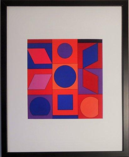 aufgezogen und gerahmt Alphabet VR Print von Victor Vasarely–50,8x 40,6cm–Teil der...