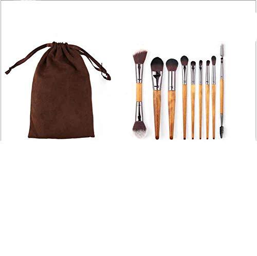 Make Up Pinsel der Kosmetikpinsel 9 Nachahmung Walnuss Make-up-Pinselsätze Anfänger bis Profi tragbar Chemiefaser Schönheitspinsel