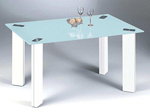 Inter Esstisch Turin Weiß mit Glasplatte Sandstrahloptik