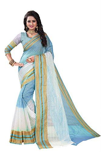 J B Fashion Women's cotton silk saree with blouse piece (sky blue)