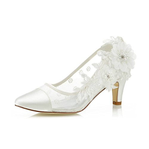 Mrs Right 4537 Damen Brautschuhe Cap-Toe Pfennigabsatz Spitze Satin Pumps Satin Blume Net Garn Hochzeitsschuhe Farbe Elfenbein,Größe 39 EU Cap Toe Pumps