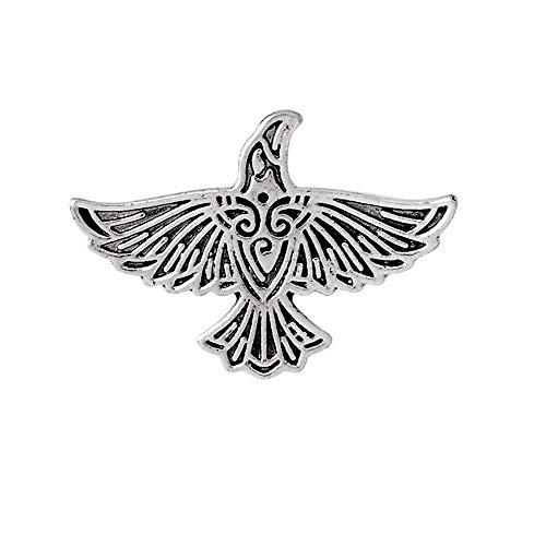Qirui Vintage Metal Enamel Brooch Viking Eagle Pin Badge Denim Jacket Collar Bags Backpacks Decoration Pins Jewellery Label Accessories Gift for Man N02