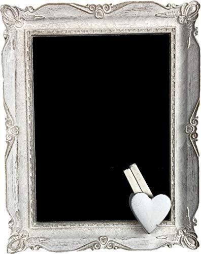 Naturtempel Kreidetafel Holz 35 x 27,5cm | Schreibtafel zum aufhängen/hinstellen | Schiefertafel Vintage handgefertigter Antik-Rahmen | Wandtafel Raumdekoration (Weiß)