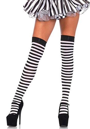 Leg Avenue 6005X - Übergröße Nylon Gestreifte Strümpfe, Größe 44-46, schwarz/weiß, Damen Karneval Kostüm Fasching (Gestreifte Nylon Strümpfe)