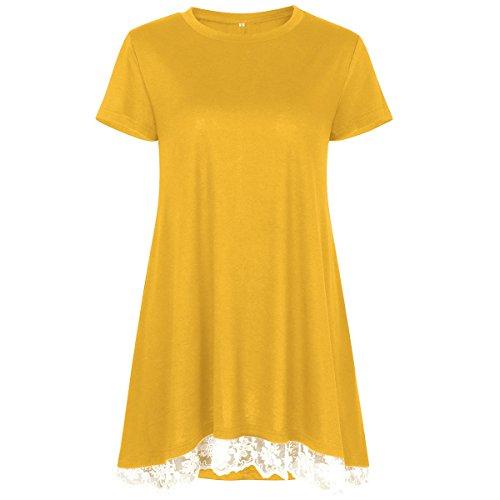 Einfarbiges T-Shirt mit Rundhalsausschnitt für Damen mit V-AusschnittDamen Kurzarm Rundhals Naht Spitze gelb M