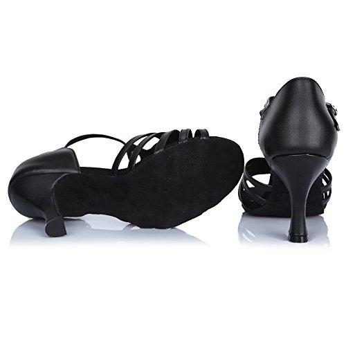 Hipposeus Zapatos De Baile Para Salón De Baile / Zapatos De Salón / Cuero Zapatos De Baile Latino Estándar, Modelo-itaf425 Negro