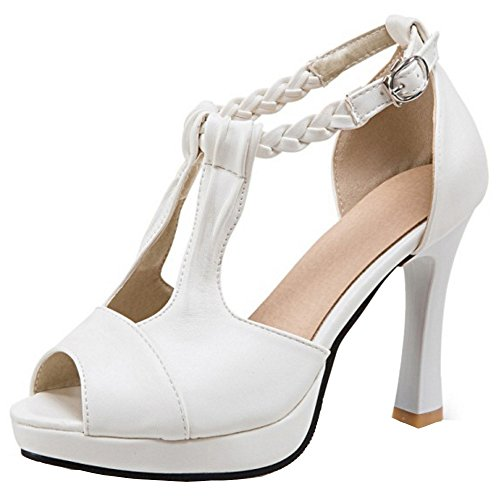 COOLCEPT Damen Mode Knochelriemchen Sandalen Peep Toe Blockabsatz Schuhe White