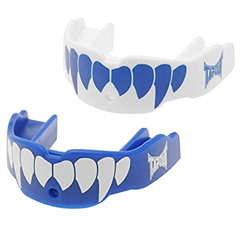 TWIN PACK Tapout Fang Mouthguard GUM SHIELD Mouth Guard - Junior , Blue/White UNISEX Boxing MMA, Rugby, Ufc Wrestling Mouth