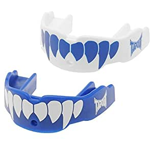 TWIN PACK Tapout Fang Mouthguard GUM SHIELD Mouth Guard - Junior , Blue/White UNISEX Boxing MMA, Rugby, Ufc Wrestling Mouth Guard