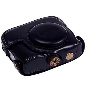 Triline Leather Camera Case Bag +Strap for Canon Powershot G15 G16 / Black
