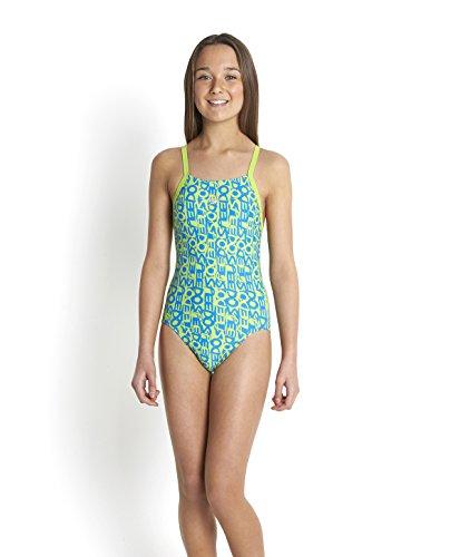 Speedo Mädchen Text Allover Rippleback Badeanzug, Citrus Green/Neon Blue, 116 (Herstellergröße:6 (Aerobic Online Kostüm)