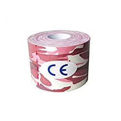 Pink Camo, 50mm W 5Meters L : 5cm x 5m Sports Kinesiology Tape Kinesio Roll Cotton Elastic Adhesive Muscle Bandage Strain Injury Support Muscle stickers