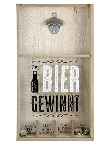Tolles Kronkorkenspiel Flaschenöffner Bier gewinnt aus hochwertigem MDF Holz zur Wandbefestigung 26x48 cm (BxH)