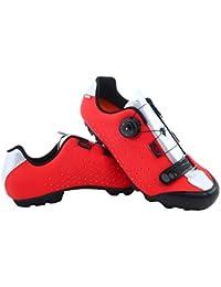 LUCK Zapatilla de Ciclismo MTB ÍCARO con Suela de Carbono y Sistema rotativo de precisión acompañada de un Velcro. (42 EU, Rojo)