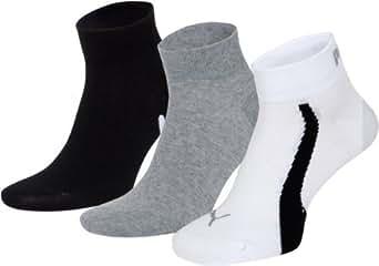 Puma Lifestyle - Chaussettes de Sport - Lot de 3 - Graphique - Mixte Adulte - Blanc/Gris/Noir - 35-38 EU