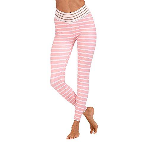 AmyGline Damen Gestreifte Jogginghose Laufen Yoga Sporthosen Fitness Sexy Streifen Strumpfhose