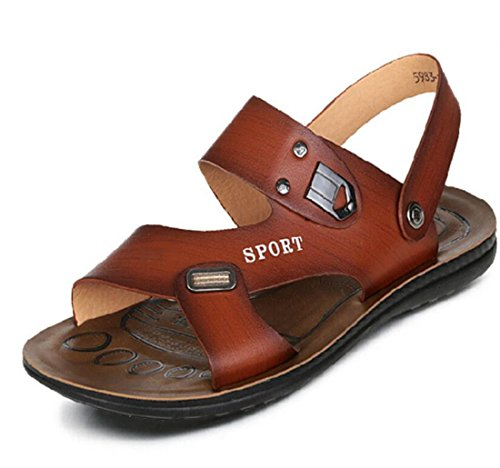 Men's Open Slip Toed Breathable Casual Sandals brown