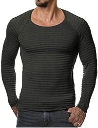 Camiseta para Hombre De De Manga Cuello Larga Ropa Redondo De Color Sólido De La Camiseta