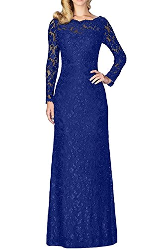 Promgirl House Damen Bequem Etui Lange Aermel Satin Spitze Lang AbendkleiderBraut Cocktail Brautmutterkleid Ballkleider Lang Royalblau