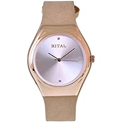 Women's Watch Rital Rose Gold Metal Case White Color Dial with Crystals Beige Band / Simple Clean Design