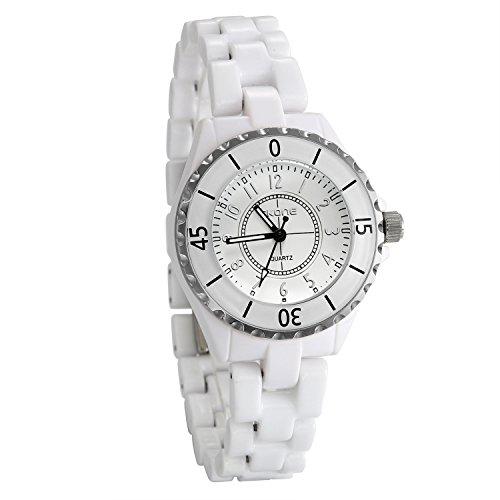 JewelryWe Damen Armbanduhr Analog Quarz weiß Keramik Band Uhr mit einfachem Silber Zahlen Zifferblatt Keramik-band