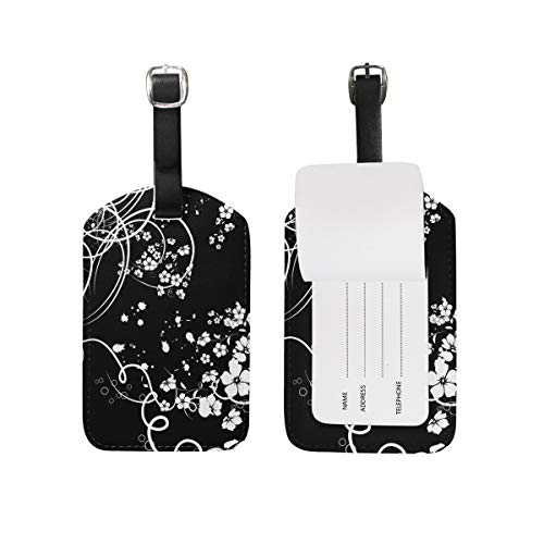 Elegant Black White Flower Luggage Tags Travel Bag Tag Suitcase 2 Pieces Set