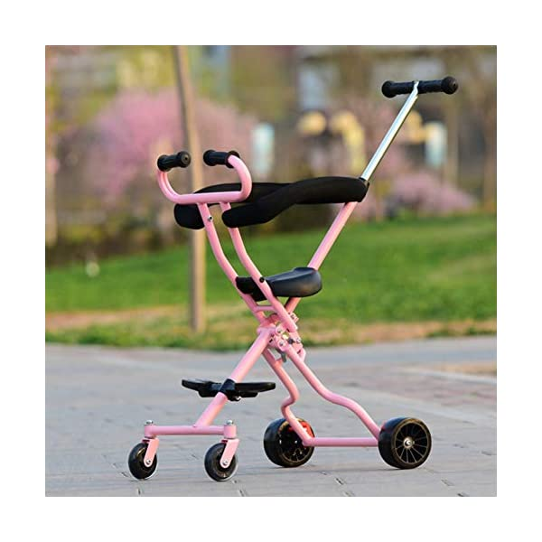 Baby Artifact Children's Trolley Baby Lightweight Folding High Landscape Anti-Rollover Door Slip Baby Stroller,Pink  1. Foldable design, easy to put into the trunk, making the journey easier. 2. The track is widened, the four-wheel area is occupied, the grip is stronger, the center of gravity is more reasonable and more stable. 3. 360° freely rotates the front wheel and rear wheel brakes. 1