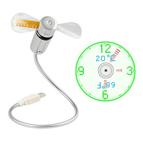 JIAMA Ventilador de Reloj USB LED Alimentado por USB Ventilador Portátil con Reloj y Pantalla de Temperatura, Cuello Flexible de Metal Mini Ventilador de Refrigeración para Portátil y PC