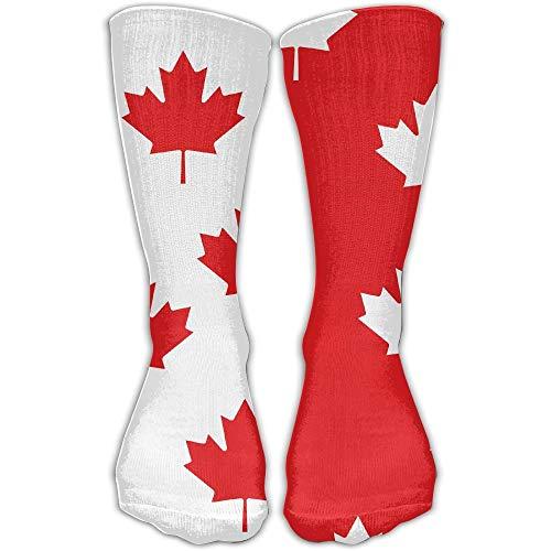 beautiful& Kanada-Flaggen-Ahornblatt-Neuheits-Baumwollmannschafts-Socken-beiläufige Knöchel-Kleid-Socken für Männer u. Frauen 19.68 Zoll