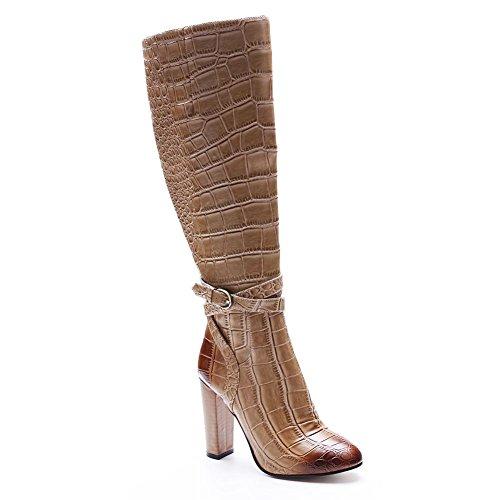 Elobaby Damen Stiefel Chunky Winter Herbst Komfort Handgemachte PU Blockabsatz (34-46 Größe)