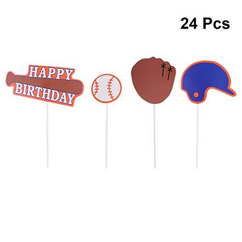 BESTOYARD 24 stücke Baseball Cupcake Topper Picks dekorative Alles Gute zum Geburtstag Kuchen Topper für Home Party Decor Weihnachten Party liefert gefälligkeiten