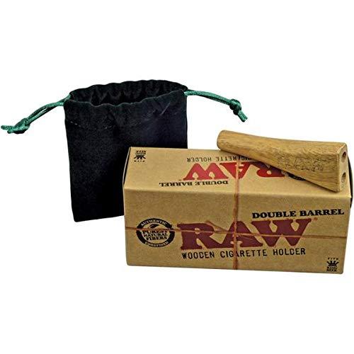 RAW Double Barrel 2fach Zigarettenhalter Jointhalter aus echtem Holz Joint Zigaretten Halter KingSize -