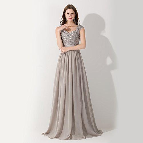 MisShow® Damen Perlenstickerei V-Ausschnitt Abendkleid Bodenlange Maxi Cocktailkleid 2017 Grau