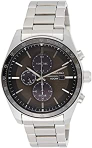 Seiko Mens Solar Powered Watch, Analog Display and Stainless Steel Strap SSC715P1, Silver