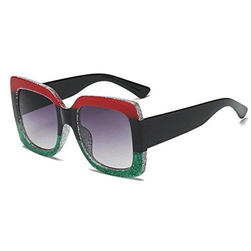 AMUSTER Unisex Sommer Sonnenbrillen Vintage Retro Brillen Mehrfarbig Sonnenbrille Mode Damen Sonnenbrillen Übergroße Luxus Sonnenbrille (One Size, C)