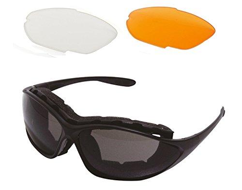 L.A. Sports Sportbrille Modell 15535A OVAL l Sonnenbrille Outdoor Sport Freizeit l Wechselgläser dunkel orange klar UV-Schutz polarisierend Brillenband Größe verstellbar schwarz Unisex Damen Herren