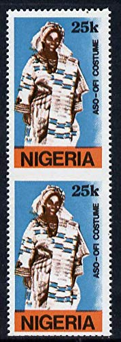 Nigeria 1989 Traditional Costumes 25k (Aso-Ofi Costume) u/m pair imperf between SG 584 COSTUMES JandRStamps